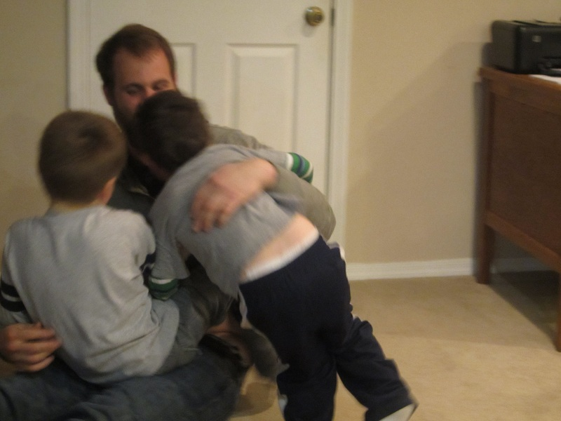 the night ended with the boys wrestling. boys.....