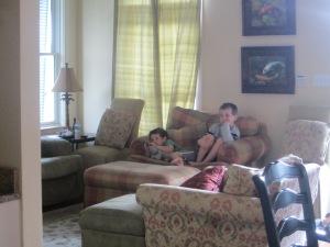 cousins relaxing