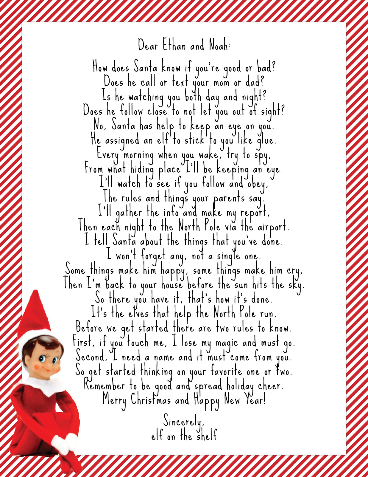 Elf on the Shelf Intro Letter