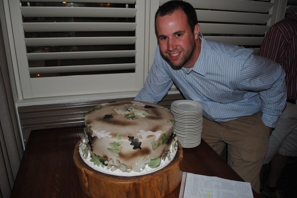 My brother and his surprise camo cake